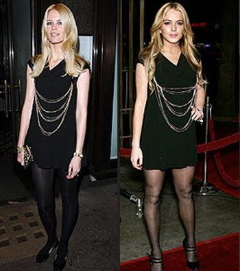 Vestido negro corto y medias